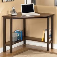 Small Wood Computer Desk Open Shelves And Keyboard Tray Small Black Corner Desk Style Brown