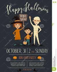 halloween party poster design with kids stock vector image 78719062