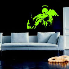 aliexpress com buy large banksy fallen angel bedroom giant vinyl aliexpress com buy large banksy fallen angel bedroom giant vinyl wall art mural sticker transfer decal door window stencil mural from reliable mural