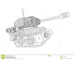 tank doodle fighting war machine army panzer stock vector