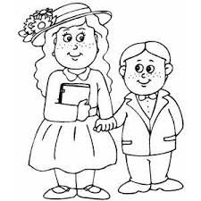 clothes coloring pages kids in easter clothes coloring page