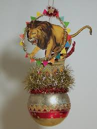victorian christmas ornament circus lion made from paper