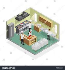 restaurant kitchen isometric concept slicing ingredients stock