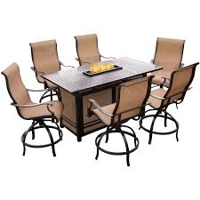 Bar Height Patio Dining Set by Monaco 7 Piece High Dining Bar Set With 30 000 Btu Fire Pit Bar