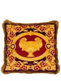 versace le vase baroque velvet pillow red gold man cave