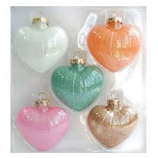 glass ornament set 5 ct pastel hearts scoping out for