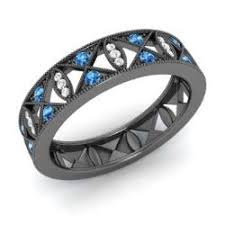 black and blue wedding rings blue topaz rings in black gold diamondere