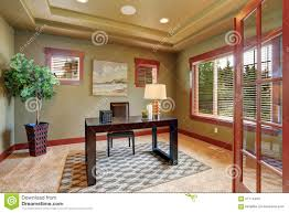 luxury home office with green interior paint stock photo image