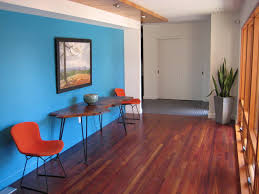 blue wall burnt orange and darker wood dealing with my blue