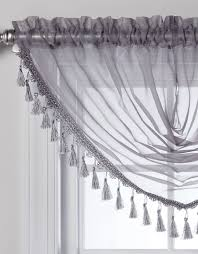 White Valance Charlotte Sheer Waterfall Valance With Tassels 4 Colors Availa