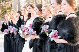 fur shawls for bridesmaids winter wedding black bridesmaids dresses winter bouquets winter