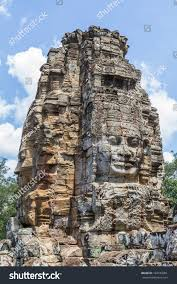 angkor thom faces large ornamental statues stock photo 194183201