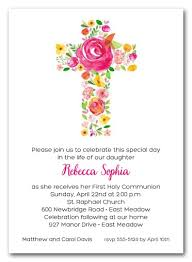 holy communion invitations cross of flowers pink holy communion invitations