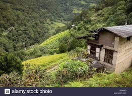 bhutan wangdue phodrang small farmhouses amongst steeply sloping