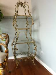 fabulous vintage italian tole etagere table stand tiered shelf