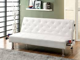 farel futon sofa in white gray black or red w pull out cup holders