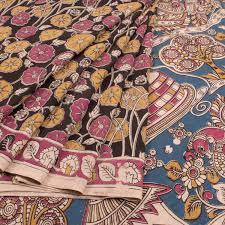 buy online hand printed kalamkari cotton saree with floral motifs
