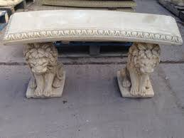 stone garden bench lion design with curved top amazon co uk