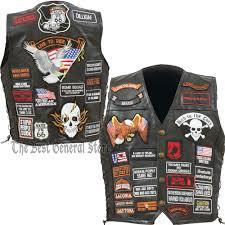 biker jacket vest mens black leather motorcycle vest with 42 biker patches lace up
