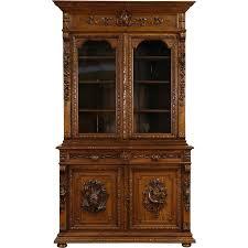 black forest 1880 antique oak bookcase or china cabinet carved