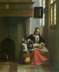 pieter de hooch interior with a woman peeling apples 1663