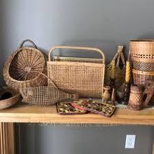 large boho rattan bamboo basket bowl boho by pebblecreekgoods
