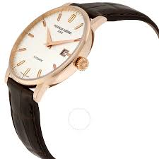 rose gold frederique constant slimline automatic silver dial 18k rose gold