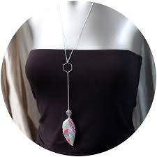 contemporary jewellery melbourne watercolour feather pendulum hex necklace sided