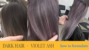 purple hair color formula how to color dark hair to violet ash fanola color formula youtube
