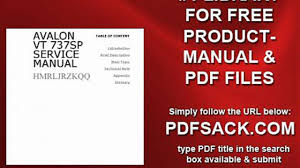 avalon vt 737sp service manual video dailymotion