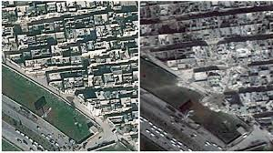 syria before and after before and after the destruction of a syrian city itv news