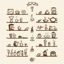 dessin ustensile de cuisine ustensiles de cuisine sur les tablettes pour maison du café