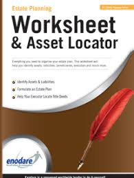 estate planning worksheet u0026 asset locator enodare