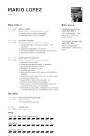 Staff Resume In Word Format kitchen staff resume sles visualcv resume sles database
