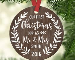 personalized ornaments wedding christmas ornament married etsy