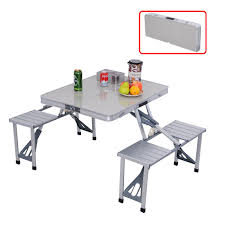 aluminum portable picnic table costway outdoor garden aluminum portable folding cing picnic