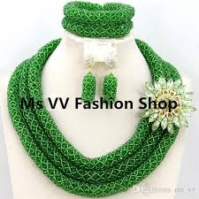 green fashion necklace images 2018 wholesale african jewelry latest design green crystal beads jpg