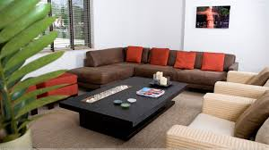 brown square coffee table cozy brown leather u shaped couch with large coffee table and berber