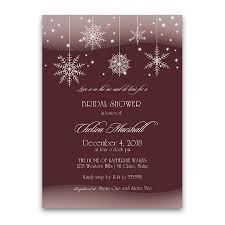 Bridal Shower Invitation Cards Winter Bridal Shower Invitations Snowflakes Burgundy