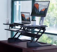 laptop standing desk converter mount it mi 7920 sit stand desk converter for laptop desktop or monit