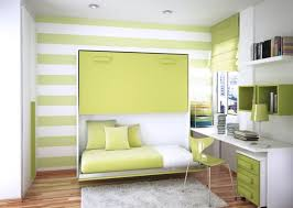 enticing light green wall striped paint with floating bed