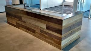 Contemporary Reception Desks Made Contemporary Reclaimed Wood And Steel Reception Desk By