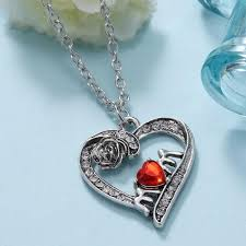 crystal love heart necklace images Mom 39 s red silver plated crystal red heart necklace with rose i jpg