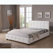 sawn white real leather finish super king size bed 22866 with