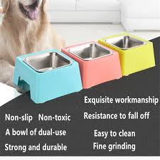 2018 Pet Supplies Stainless Steel Dog Bowl Square Dog Feeder Food