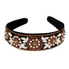 silk headband flower and pearl black silk headband maati