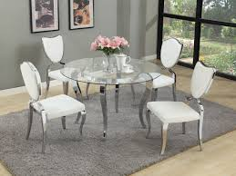 White Kitchen Furniture Sets Glass Round Dining Table For 6 Intended For Glass Round Dining