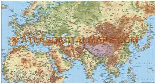 Eurasia Map Digital Vector Europe Asia North Africa Large Relief Map In