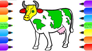 cow coloring pages for kids how to draw animals learn color