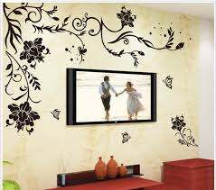 home decor free shipping black butterfly flower removable vinyl wall sticker decals quote